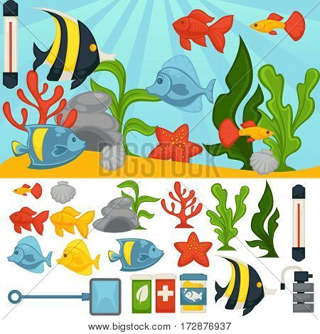 Aquarium with tropical fishes and plants. Vector fish tank set of filtration system, heater, scoop net and thermometer and maintenance accessory components