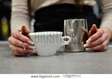 barista woman espresso coffee wonderful hands nails