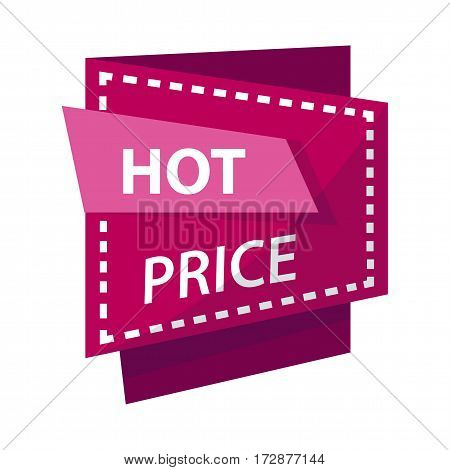Hot price banner for sale or discount promo vector label template. Shop advertising sticker, online store shopping and web banner