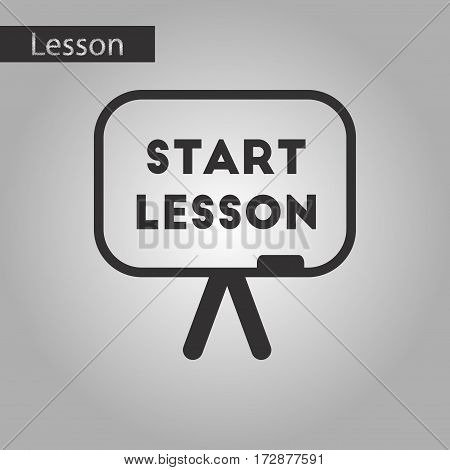 black and white style icon of board Start lesson