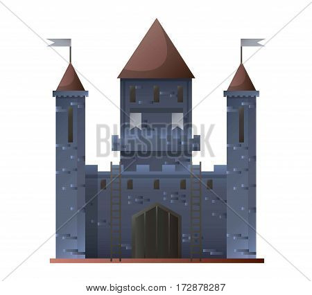 Ancient grey castle isolated in flat design on white. Vector illustration of fortress built of grey stones with brown triangular roofs and two small symbolic flags. Old building type for living