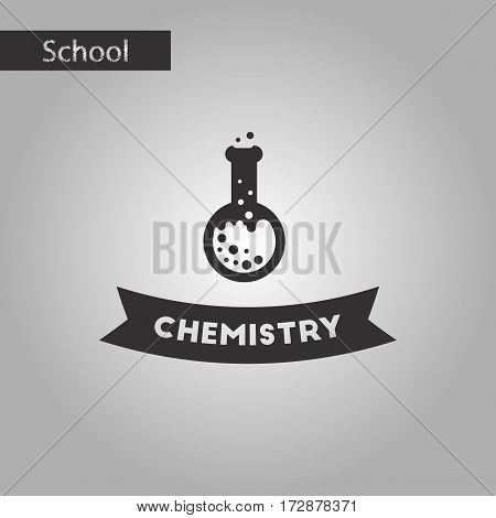 black and white style icon of chemistry lesson
