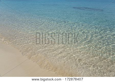 Water edge on beach. Wat sand and transparent tranquil sea.