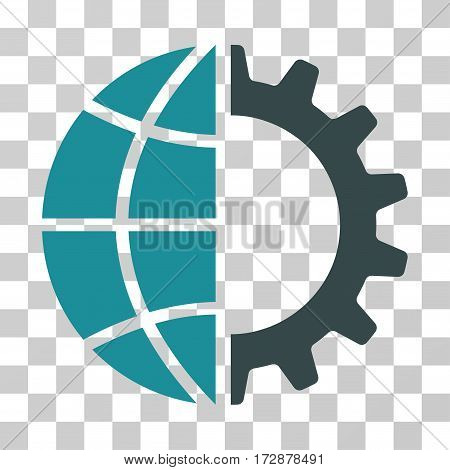 Global Industry vector pictogram. Illustration style is flat iconic bicolor soft blue symbol on a transparent background.