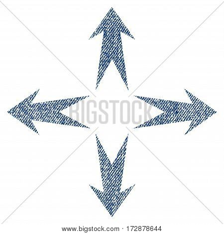 Expand Arrows vector textured icon for overlay watermark stamps. Blue jeans fabric vectorized texture. Symbol with dirty design. Blue ink rubber seal stamp with fiber textile structure.
