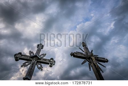 Wooden crosses on pilgrimage site called Hill of Crosses Lithuania
