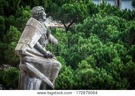 Almeida Garrett monument next to Porto City Hall in Portugal