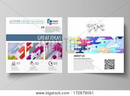 Business templates for square design brochure, magazine, flyer, booklet or annual report. Leaflet cover, abstract flat layout, easy editable vector. Bright color lines and dots, colorful minimalist backdrop with geometric shapes forming beautiful minimali
