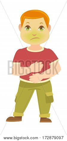 Child has pain in stomach. Boy sick with green face nauseate. Person sick to his stomach. Little male in red t-shirt and green trousers holds hands on belly vector illustration in flat design