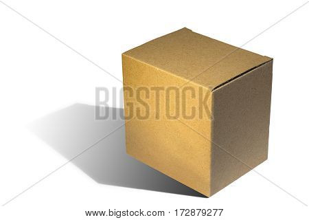 brown carton box on white background with shadow