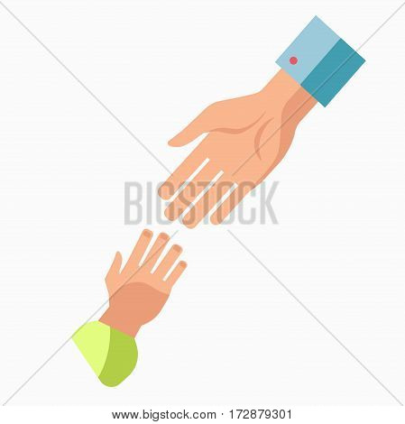 Charity symbol or logo of hands and hearts. Blood donation volunteer center, mercy care organization or public fund vector flat icon template