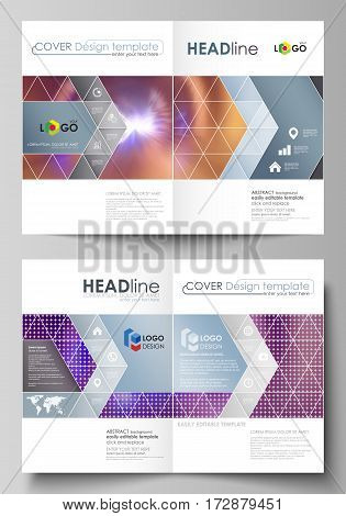 Business templates for bi fold brochure, magazine, flyer, booklet or annual report. Cover design template, easy editable vector, abstract flat layout in A4 size. Bright color colorful design, beautiful futuristic background.