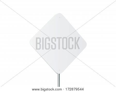 Blank white rhombus shape street sign mockup 3d rendering. Clear rhombus signage design mock up isolated. Empty outdoor board on metal pole.