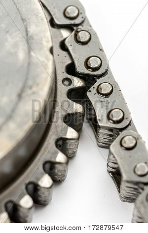 Closeup Macro Used Oiled Timing Chain On Cam Shaft