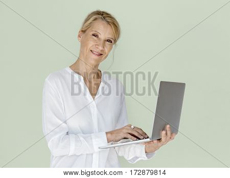 Woman Smiling Happiness Laptop Connection Working