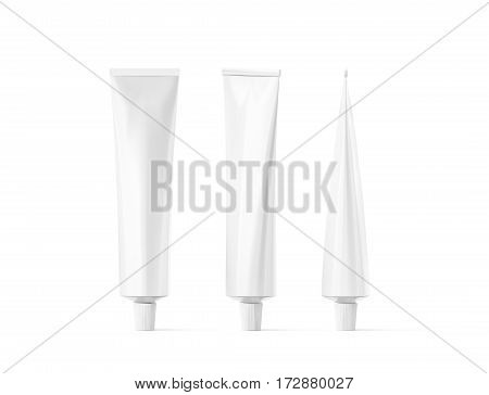 Blank white tube mockup set front and side view 3d rendering. Clear skincare cream pack design mock up. Clean gel bottle template logo branding presentation. Empty cosmetic paste.