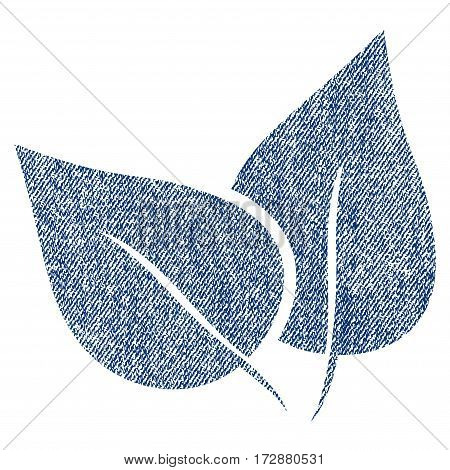 Flora Plant vector textured icon for overlay watermark stamps. Blue jeans fabric vectorized texture. Symbol with scratched design. Blue ink rubber seal stamp with fiber textile structure.