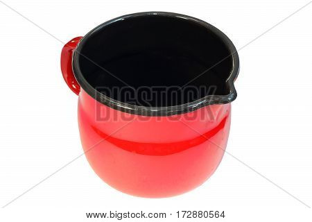 red painted metal ewer isolated on white background