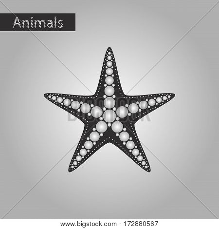 black and white style icon of starfish