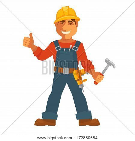Builder or house constructor man profession. Carpenter in uniform, safety helmet and construction or repair and building work tools set of hammer and electric drill