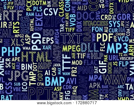 Seamless pattern design. File type names collage. Bright blue yellow mint colors on dark background. Different font types strips dotted lines stroke. Vector illustration.