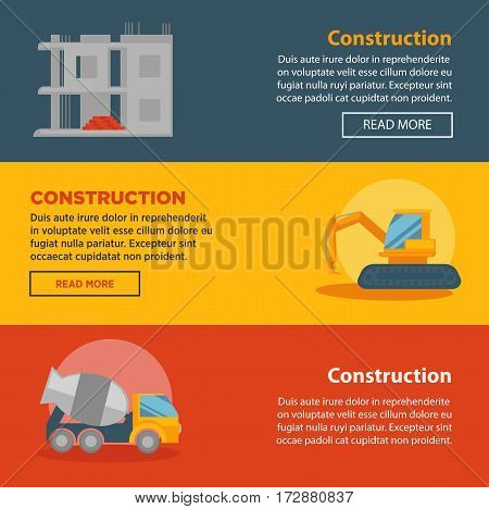 Construction or building company web banners or landing pages templates design. Vector set concrete mixer, excavator and machine and house foundation brickwork