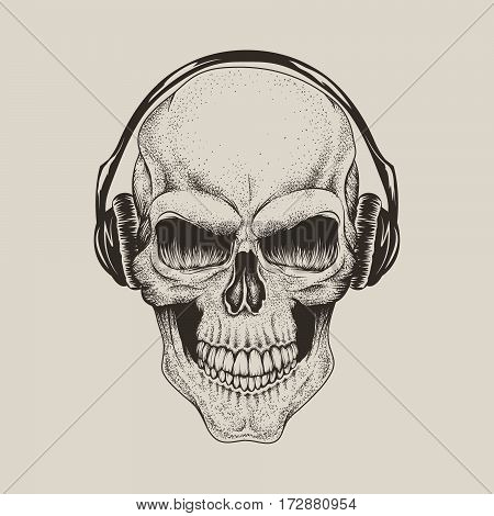 skull in headphones listen a music.Street style vector label.Prints design for t-shirts or tattoo