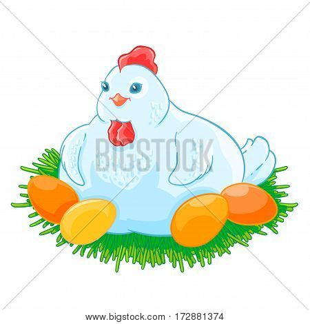 Mother hen is sitting the eggs hatch in the nest. Vector illustration isolated on white background.