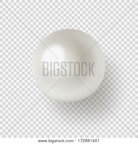 Vector illustration of shiny natural white sea pearl with light effects isolated on transparent background