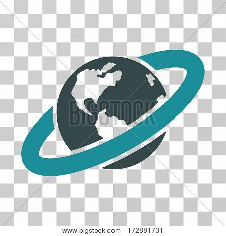 Ringed Planet vector icon. Illustration style is flat iconic bicolor soft blue symbol on a transparent background.