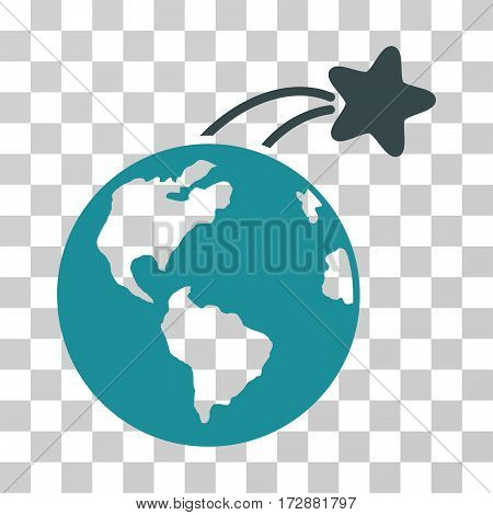 Rising Satellite On Earth vector pictograph. Illustration style is flat iconic bicolor soft blue symbol on a transparent background.