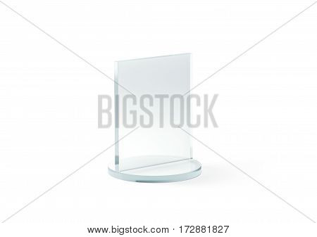 Blank square glass trophy mockup 3d rendering. Empty acrylic award design mock up. Transparent realistic crystal prize plate template. Premium first place prise plaque isolated on white.