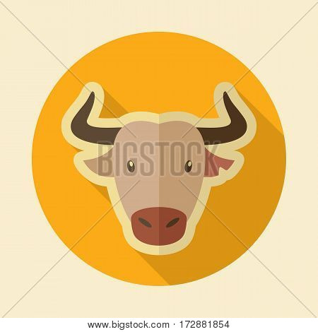 Spanish bull bison buffalo ox flat icon. Animal horned head vector symbol eps 10