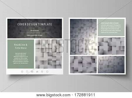 Business templates for square design brochure, magazine, flyer, booklet or annual report. Leaflet cover, abstract flat layout, easy editable vector. Pattern made from squares, gray background in geometrical style. Simple texture.
