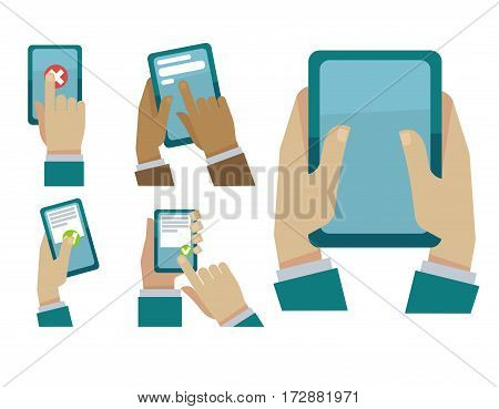 Hands and fingers tapping smartphone or tab display screen reading and chatting, writing message or search information in app. Vector flat icons templates set for business infographics