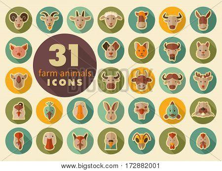 Set of farm animals retro flat icons. Vector head illustration. eps 10