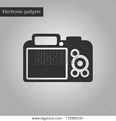 black and white style icon of camera