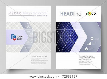 Business templates for brochure, magazine, flyer, booklet or annual report. Cover design template, easy editable vector, abstract flat layout in A4 size. Shiny fabric, rippled texture, white and blue color silk, colorful vintage style background.