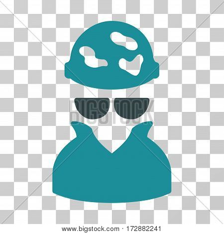 Spotted Spy vector pictogram. Illustration style is flat iconic bicolor soft blue symbol on a transparent background.