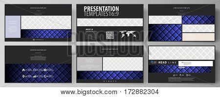 Business templates in HD format for presentation slides. Easy editable abstract vector layouts in flat design. Shiny fabric, rippled texture, white and blue color silk, colorful vintage style background.