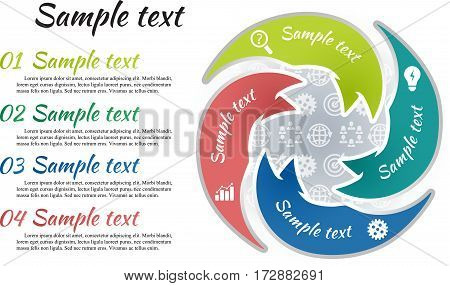 Circle infographic template 4 steps. Arrow shape parts of chart with business picture and curve text sample. Icon pattern background. Numbers and inscription outside graph. Vector illustration.