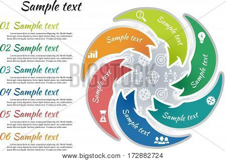 Circle infographic template 6 steps. Arrow shape parts of chart with business picture and curve text sample. Icon pattern background. Numbers and inscription outside graph. Vector illustration.