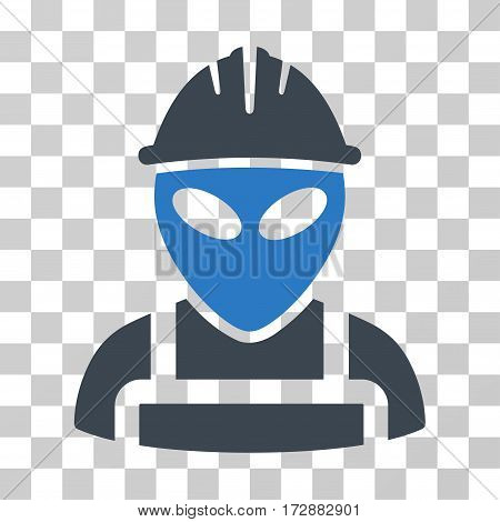 Alien Worker vector pictograph. Illustration style is flat iconic bicolor smooth blue symbol on a transparent background.