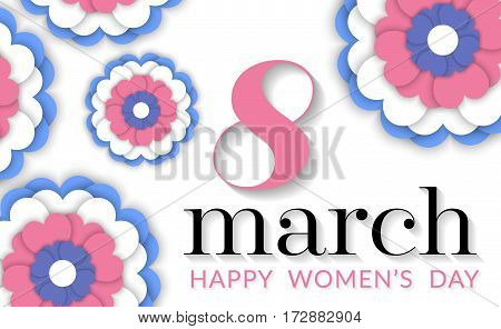 8 March international women's day. Happy Mother's Day. Greeting card with blue-pink flowers on white background. Happy Women's Day. Vector illustration.