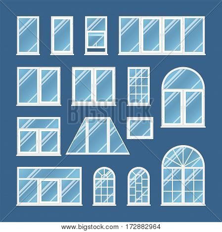 Set of transparetn windows with opacity blue glass. White frame and different shapes. Realistic vector illustration.