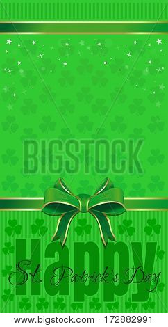 Green festive background with leafed clover, ribbon and bow. Happy St. Patrick's Day. Vector illustration