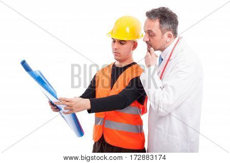 Constructor Showing Blue Prints To Doctor