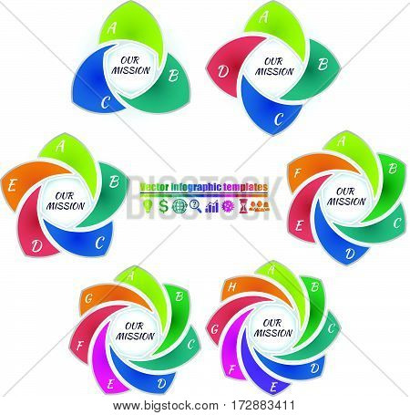 Set of colorful circle infographic template 3-8 steps and central element. Flower spiral form parts with letter. Title inscriptions outside graph. Vector illustration.