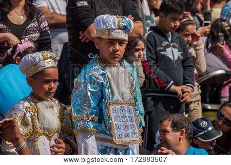 Jewish Boys Celebrate The Purim Holiday At Street Event