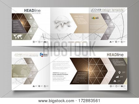 Set of business templates for tri fold square design brochures. Leaflet cover, abstract flat layout, easy editable vector. Alchemical theme. Fractal art background. Sacred geometry. Mysterious relaxation pattern.